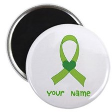 Personalized Green Heart Ribbon Magnet