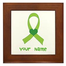 Personalized Green Heart Ribbon Framed Tile