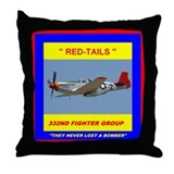 Tuskegee red tails Throw Pillow