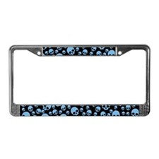 Random Blue Skull Pattern License Plate Frame