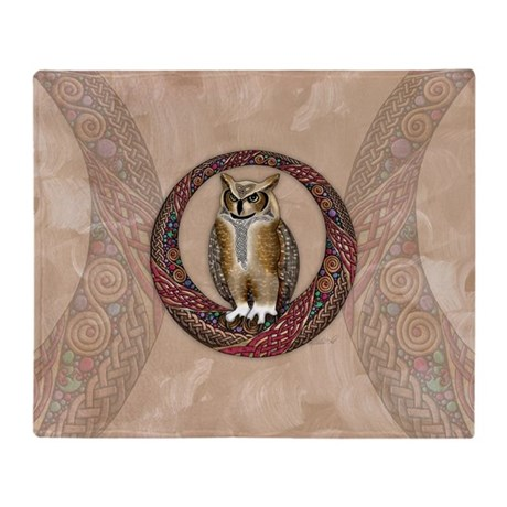Celtic Owl Throw Blanket
