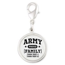 Army Sister/Brother/Cousin Silver Round Charm
