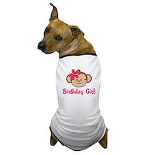 Birthday Girl Pink Monkey Dog T-Shirt