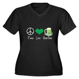 Peace Love Green Beer Plus Size T-Shirt