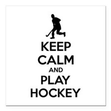 "Keep calm and play hockey Square Car Magnet 3"" x 3"