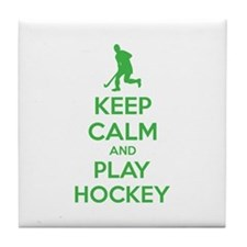 Keep calm and play hockey Tile Coaster