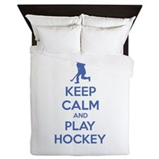 Keep calm and play hockey Queen Duvet