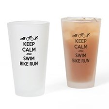 Keep calm and swim bike run Drinking Glass