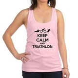 Keep calm and triathlon Racerback Tank Top