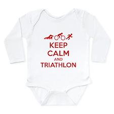 Keep calm and triathlon Long Sleeve Infant Bodysui