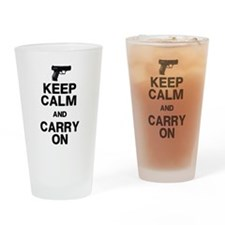 Keep Calm Carry On Drinking Glass