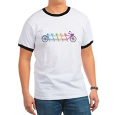 colorful tandem bicycle, team bike T-Shirt