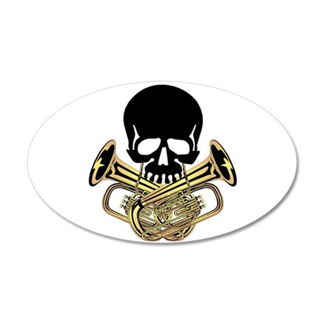 Skull with Tuba Crossbones Wall Decal