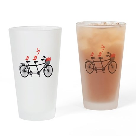 tandem bicycle with cute love birds, vector Drinki