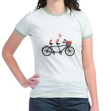 tandem bicycle with cute love birds, vector T-Shir
