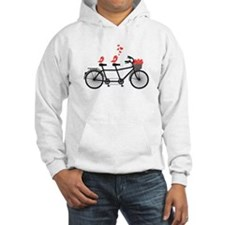 tandem bicycle with cute love birds, vector Hoodie