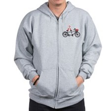 tandem bicycle with cute love birds Zip Hoodie