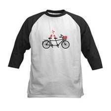 tandem bicycle with cute love birds Baseball Jerse