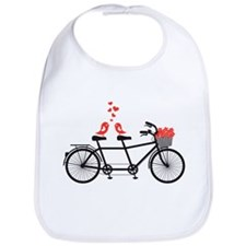 tandem bicycle with cute love birds Bib