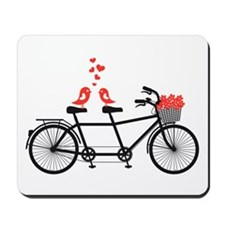 tandem bicycle with cute love birds Mousepad