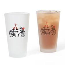 tandem bicycle with cute love birds Drinking Glass