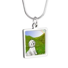 Rainbow Bridge Silver Square Necklace