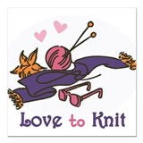 "Love to Knit Square Car Magnet 3"" x 3"""