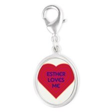 Esther Loves Me Silver Oval Charm