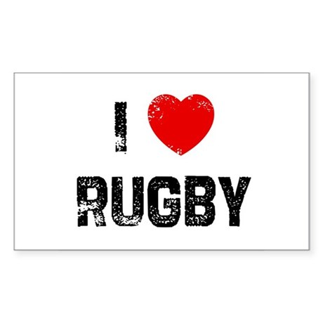I * Rugby Rectangle Sticker