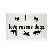I Love Rescue Dogs Rectangle Magnet (100 pack)