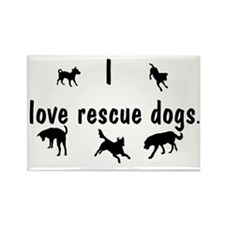 I Love Rescue Dogs Rectangle Magnet
