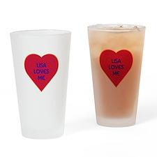 Lisa Loves Me Drinking Glass