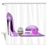 Lilac Stiletto Shoe, Hat and Cupcake Art Shower Cu