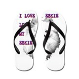 i love my eskie, american eskimo dog Flip Flops