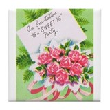 Vintage/Retro Sweet Sixteen Tile Coaster