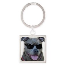 Pitbull in sunglasses Square Keychain