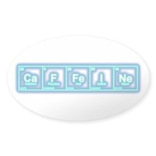 CaFFeINe (Blue Glow) Sticker Oval