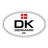 UN-Style Oval Automobile Sticker - Denmark