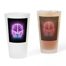 Human brain,computer artwork - Drinking Glass