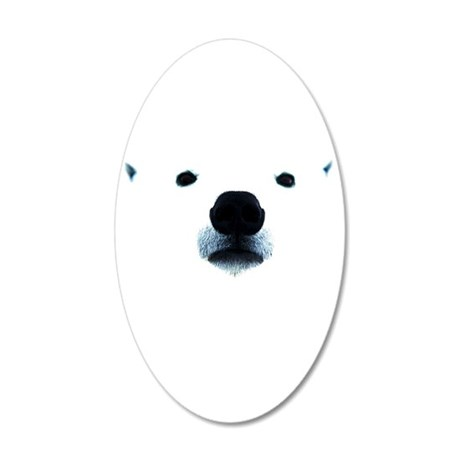 Polar Bear Face 20x12 Oval Wall Decal