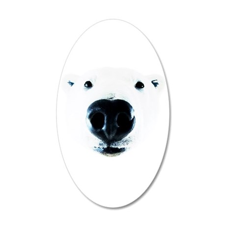 Polar Bear Sniff 20x12 Oval Wall Decal