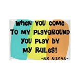 ER nurse my playground WHITES Rectangle Magnet