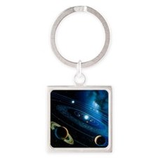 Artwork of the solar system - Square Keychain