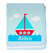 Personalizable Sailboat in the Sea baby blanket