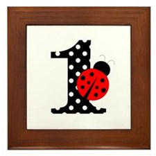 Ladybug First Birthday Framed Tile