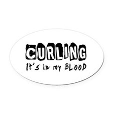 Curling Designs Oval Car Magnet