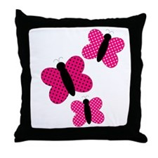 Pretty Pink and Black Butterflies Throw Pillow