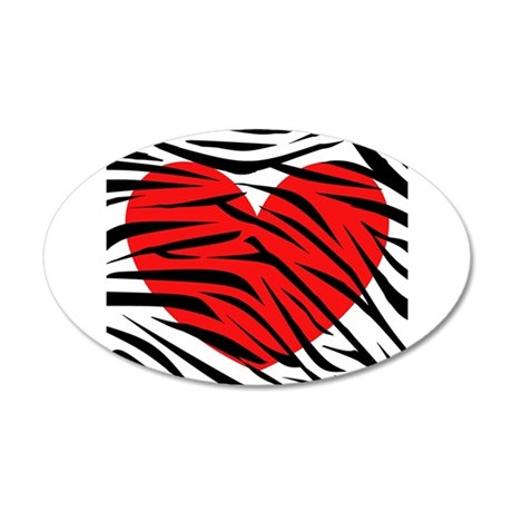 Red Heart in Zebra Stripes Wall Decal