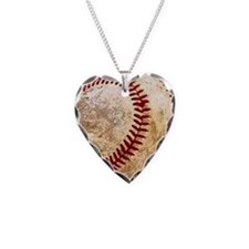Cool Baseball Necklace Heart Charm
