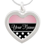 Black Polka Dot Pink Silver Heart Necklace